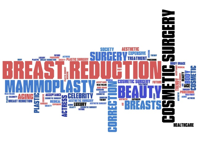 Breast reduction - word cloud concept tag set